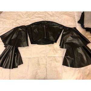 Black leather flared sleeve shoulder less crop top